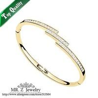 Christmas Gift 18K Gold Plated Bracelet Rhinestone Cuff Bangles Fashion Jewelry (10 Colours) Free Shipping