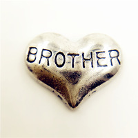 20pcs/lot Free Shipping Diy Wholesale Siver Brother Heart Floating Charm For Origami Owl Memory Living Locket