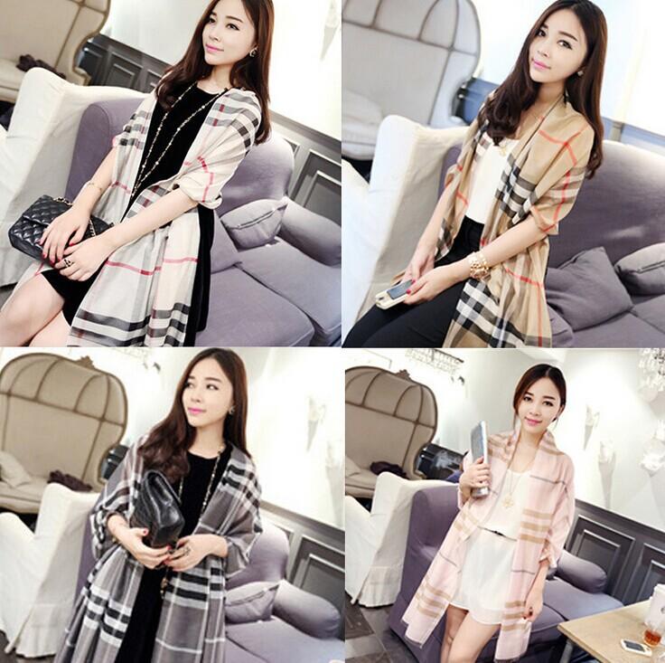 2014 fall winter women's scarf Classic Big Plaid Cashmere Scarf Women Grid Silk Scarf Lady Soft Shawl 250*70cm Free Shipping S13(China (Mainland))