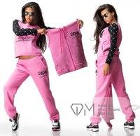 Mini Gum New 2014 women harajuku 3pcs ivpn letter dot print pullover suit jacket sweathirt tracksuit sprotwear s m l