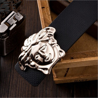 Free shipping Golden head buckle Unisex fashion belt 2014 designs High-grade buckle Excellent quality Leather Business belt.