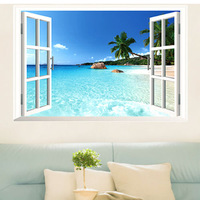 Hot Sales Large Removable Beach Sea 3D Window View Scenery Wall Sticker Decor Decal