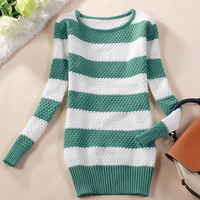 2014 New Women's Autumn and Winter Long-sleeve Pullover Medium-long O-neck Basic Striped Sweater Outerwear Free Shipping #0017