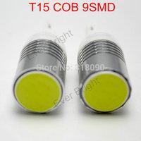 New!! 4pieces/lot T15 COB 9 SMD W5W 194 168 12V DC Leds 9 Led White License Plate Light Parking Lamps Car Lamps Light Sourcing