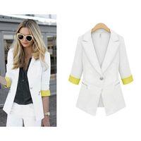 Casual Women Lapel Split Contrast One Button Seven Point Sleeve Blazer Outwear Coat Jacket  #66145