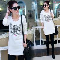 Loose cotton tshirt womens tops fashion 2014 female casual long sleeve shirt women t-shirt plus size graphic tees women clothing