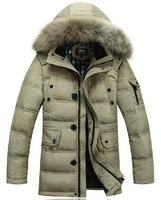 winter 2014 brand men's long design large fur collar hooded down jacket fashion thick warm parkas coat outerwear plus size M-4XL