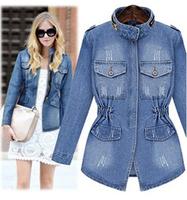 Free Shipping New Fashion European Style Women Coat Casual Hole Denim Jackets Women High Quality Slim Woman Clothes