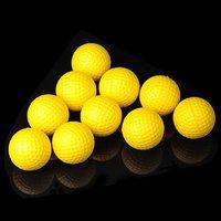 10pcs/pack Soft Indoor Practice PU Yellow Golf Balls Training Aid H8876