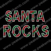 Free Shipping 30Pcs/Lot Wholesale Santa Rocks Iron On Rhinestone Christmas Transfers Custom Designs For Xmas Costumes
