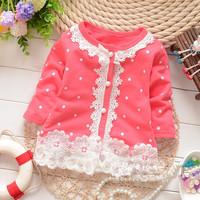 Free Shipping Summer 2014 Korean girls covered dot lace long-sleeved Cardigan Coat children's clothing kids baby jacket