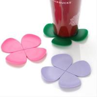 Fashion 5pcs/lot Creative Sweet 3D Flower Shape Silicone Tea Coffee Cup Mat Coaster 11cm Diameter
