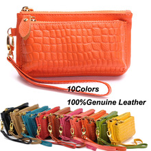 100% Guarantee Real Cowhide Small Bags Women's Wallets Leather Coin Purse Mobile Phone Bags Wristlets Clutch Bag Key case(China (Mainland))