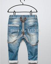 skz-302 versandkostenfrei 2014 neuankömmling mode casual jungen hosenträger denim kinder heißer verkauf jeans baby hose oben qualitativ hochwertigen Einzelhandel(China (Mainland))