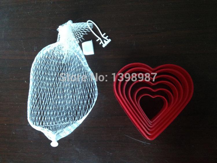 2014 novo coração cortador de biscoitos forma molde biscuit moldes fondant bolo ferramentas 6pcs/set(China (Mainland))