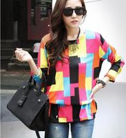 2014 New Korean Fashion Beautiful Geometric Color Loose Big Code Knitting in The Long Version Coat (Belt)