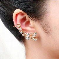Wedding Women Ear Clip Shining Crystal Hollow Out Butterfly Silver And Golden Cuff Earrings SKE049