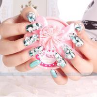 24 pcs /lot New 2014 Wedding French Diamond luxury  Bride 3D False Nails 3d nail art decorations nail accessories