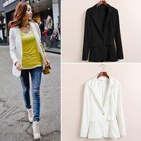 Casual Women Pure Color Back Pleated Chiffon Split Oversized One Button Blazer Jacket Coat #66140
