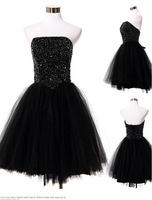 Sexy A-line Elegant Black Crystals Beading Sequins Above Knee Length Mini Off the Shoulder Sleeveless 2014