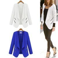 Casual Women Oversized No Button Zip Side Zipper Slim Jacket Blazer Suits Coat Outwear  #66142