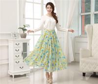 2014 New Fashion Free Shipping Women's Dress Bohemia Chiffon Long Skirt Printed Flower Elegant  National Style Skirt Cloth 24002