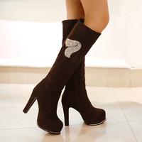 Sexy ultra high heels boots autumn and winter scrub fleece thick heel high-leg boots martin boots