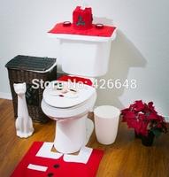 3 piece/Set Christmas Decorations Toilet Seat Cover And Rug Set Bathroom Happy Santa 2014 Innovative Item