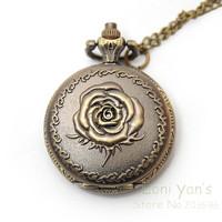 10pcs/lot Antique Bronze Rose Necklace Pendant Clock Watch Free Ship