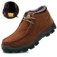 Hot sale 2014 new casual Genuine Leather warm men boots winter fur snow boots Camel Brand vintage rubber men flats shoes man