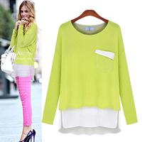 Autumn Shirts Mixed Color Chiffon Patchwork Pocket Long T-shirt Loose Casual Body Desigual Top Plus Size Poleras De Mujer 6603