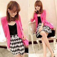 Casual Women Hollow Lace Seven Point Sleeve One Button Split Shrug  Blazer Outwear Coat  #66143