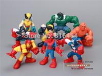 8 pieces 1 lot America Super Heros toys collection movie cartoon desk action figure,PVC 6-7cm cute design spiderman toys