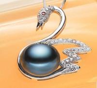 swan model set auger pendant AAAA 10-11mm black Hard Light Tahiti black pearls Necklace S135#