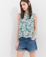 Camisas feminina 2014 womn Fashion  Floral Printed Sleeveless Chiffon Blouse Casual Tank Top Plus Size Tops cheap price
