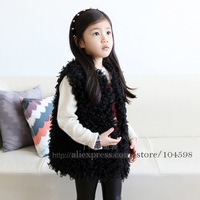 Autumn and Winter new style kids black faux fur vest coats Wholesale cheap Girls outwear Free shipping Children clothing PYF02