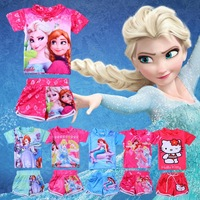 2014 summer girls ourdoor swimsuit/Girls swimming clothes with printed Cartoon princess/New arrived Frozen swimwear