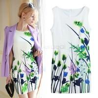 lady's printed dress girls stylish green flower sleeveless slim dress women's sleeveless flower vest dress chiffon sv18 cb030596
