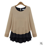 New 2014 Women Fashion Pullovers Knitwear Faux Two Piece Long Sleever O-Neck Slim Sweater Autumn Winter Women Blouses