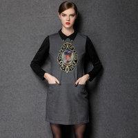 2015 new spring antumn and winter fashion work dresses women silm Hitz  vintage doll collar retro style dress plus size L- 4XL