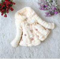 Girls Winter Coat 2014 Princess Style Girls Clothes Kids Jacket Children Winter Outwear Lace Dress Design Coat and Jackets FR031