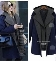 2014 New Design Winter Trench Coat Women Medium hooded Long Oversize Warm Wool Jacket European Korean Fashion Overcoat