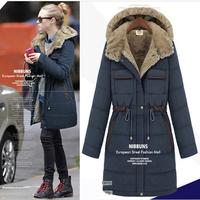 New Arrival Winter Women Coat Hooded  Adjustable Waist Pocket Zipper Casual Thick X-Long Parka KB231