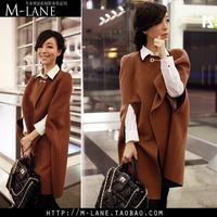 new 2014 fashion  batwing Wool Casual Poncho for Women Winter Coat Jacket Loose Cloak Cape Black Outwear         C1020