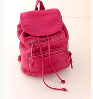 2014 women's handbag fashion trend pocket water washed PU  leather backpack soft bucket  backpack bag