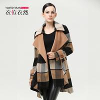 2014 Autumn winter woman clothes new European &American models Girls long woolen coat lady coat British loose lattice tide coat