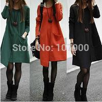 2014 autumn winter long sleeve plus size women casual loose vestidos dress party dresses coat