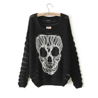2014 Autumn Winter new arrival womens fashion skull pattern hollow out lace sweater ladies loose long pullover plus size