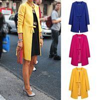 Warm Women Ladies Oversized Invisible Pockets Bownot Button Long Woollen Jacket OutwearCoat #66590