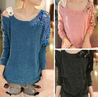 SLN2221 Women fall lace long sleeve sexy casual loose tops tee tshirts t-shirt blouses shirts black blue gray pink